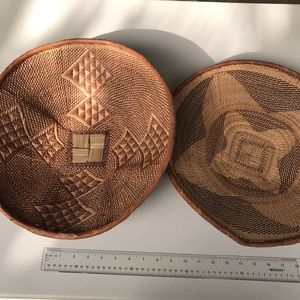 Lots of two large hand woven baskets